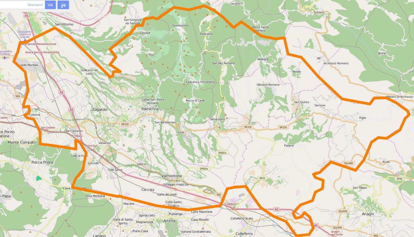 Mappa del DECS Monti Prenestini